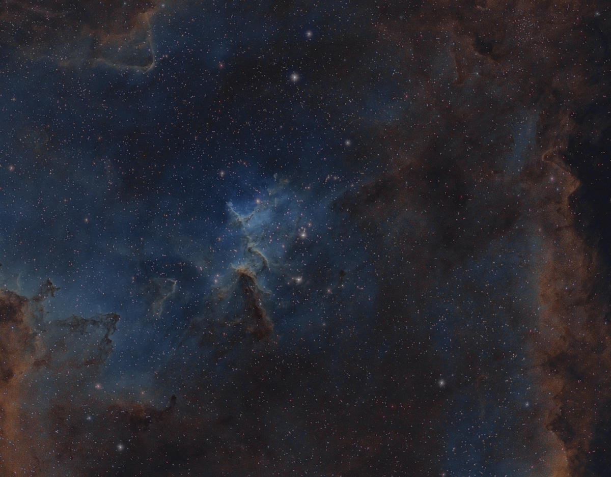 Mellotte 15 & the swirling tower of dust and gas at the Heart of the Heart Nebula in narrow band.